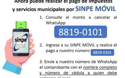 Ahora puede realizar el pago de impuestos y servicios municipales pos SINPE MÓVIL.